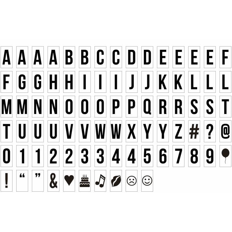 Letras y símbolos para caja de luz